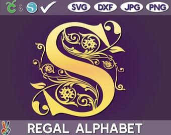 Regal monogram SVG, monogram vector, Cricut cut files, Family monogram, Silhouette Cameo ready, full set, Regal fixed set, PNG, DXF, jpg