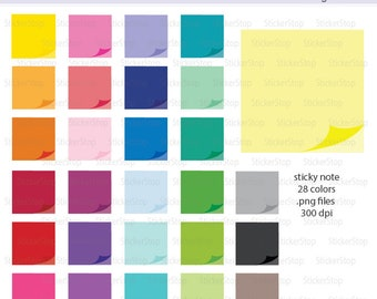 Sticky Note Icon Digital Clipart in Rainbow Colors - Instant download PNG files - Sticky Notes, Post It, Paper, Frame
