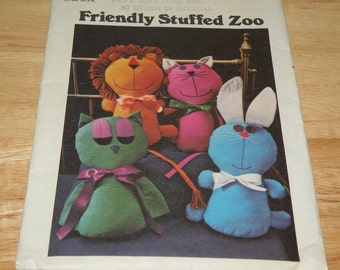 Butterick 4573 Friendly Stuffed Zoo Pattern Uncut