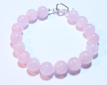 Sterling Silver Rose Quartz 10MM Bracelet