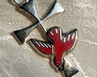 Peace Dove Cross Vintage Pendant Necklace Holy Spirit 60s 70s Communion Christian Love Religious Spiritual Easter Red Enamel Embossed Jesus