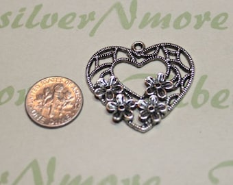 6 pcs pr pack 34x32mm Filigree Heart Pendant Antique Silver lead free Pewter.