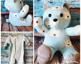 One Sleeper Memory Bear, Keepsake Bear, Memorial/ Personalized Baby Gift, Custom, Handmade teddy Bear,   Bear from baby clothes