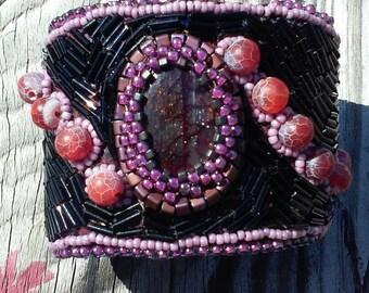 Elegant labradorite cuff bracelet,  native American made.