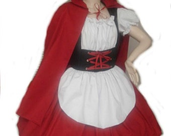 Little Red Riding Hood Halloween Costume Dress and Cape Red White Black Womens Adult Custom Size including Plus Sizes Handmade High Quality