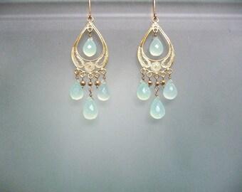 Sea-green chalcedony Vermeil chandelier earrings