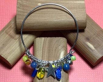 Yellow Blue Bracelet Charm Bangle Wire Bangle Bracelet Blue Yellow Bangle Blue Bead Bracelet Size 7 Bracelet Wire Bead Bracelet