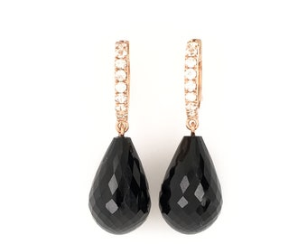 Black Spinel and white Sapphires briolette dangle earrings