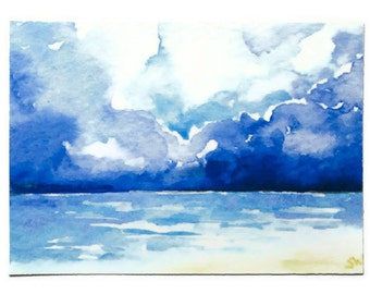 Stormy Seascape Watercolor Painting ACEO Archival Print