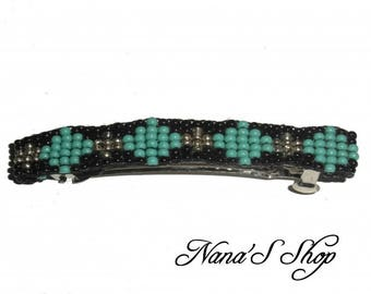 hair clip, in woven, black and turquoise beads