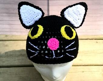 Crochet black kitty cat beanie hat