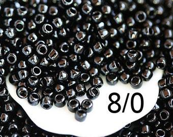 Black Seed beads, Toho beads, size 8/0, Opaque Jet  N 49, black beads, kumihimo rocailles - 10g - S945