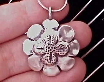 Clover Rose Pendant made from Silver Half Dollar Coin