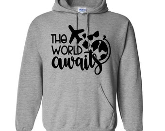 The World Awaits Travel Wanderlust Unisex Pullover Hoodie Sweatshirt Custom Gift for Her Mothers Day Jenuine Crafts