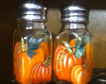 Pumpkin Painted Glass Salt and Pepper Shakers Hand-Painted Glass Fall Halloween Autumn Salt & Pepper Shakers by Lisa Hayward
