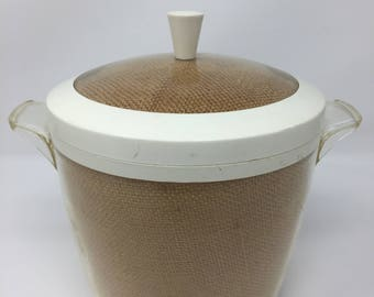 Retro Raffiaware Tan Oatmeal Burlap Insulated Thermo-Ware Ice Bucket Tikki Ware