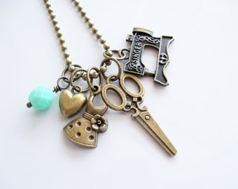 Sewing Charm Necklace - Sewing Addict Jewelry - Sewist Necklace - Sewing Machine - Fashion Designer - Custom Charm Jewelry - You Choose Bead