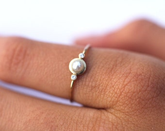 Pearl Diamond ring, Pearl Engagement ring, white Pearl ring, three stone ring, solid 14k gold ring, triplet, unique Engagement ring