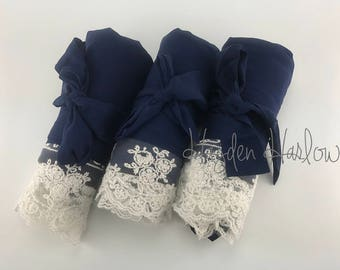 Navy Blue Cotton Robe with ivory lace trim -Bride Bridesmaid Flowergirl Gift-Monogrammable |sizes 0-26 standard or petite, child sizes
