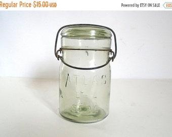 Sale - Antique ATLAS E-Z Seal Green Glass Canning Jar