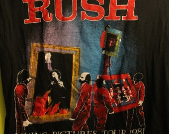 RUSH Concert T Shirt! Authentic Vintage 1981 Rush ~ Moving Pictures Tour T Shirt! Geddy Lee / Alex Lifeson / Neil Peart! '81 Original Rush T