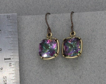 Handmade Dangle Earrings  12mm Crystal Vitrial Green Pink Octagon Drops Niobium Ear wires Oscarcrow