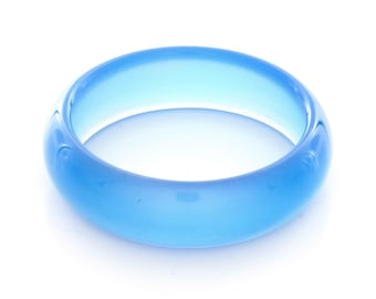 Natural Blue Agate Gemstone Plain Band Ring