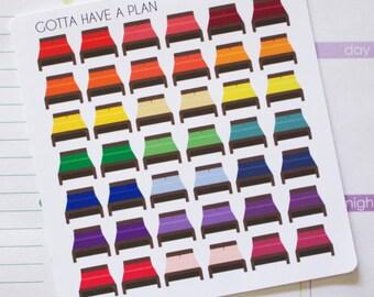 Planner Stickers Bed for Erin Condren, Happy Planner, Filofax, Scrapbooking