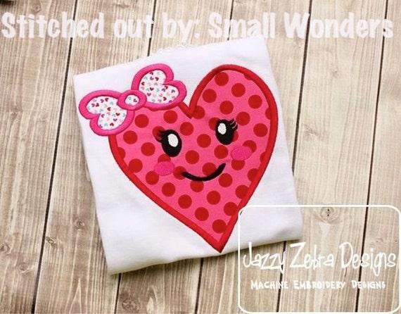 Heart Girl Appliqué embroidery Design - Valentines day appliqué design - Valentine appliqué design - heart appliqué design