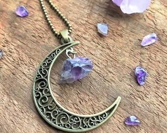 Amethyst Crescent Moon Natural Quartz Necklace Bronze Bohemian Boho Quartz Crystal Point Charms Pendant Healing Crystal New Age Metaphysical