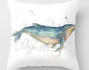 Pillow .BLUE WHALE  .PRINT art.. animal art - woodland art - fine art -living room - childrens room - nursery - babies - cookies