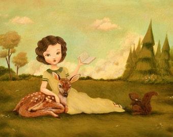 Art for Kids - A Springtime Story Print 14x11 - Wall Art for Nursery, Book Art, Nursery Art, Bookworm, Reading, Squirrel, Deer, Girl, Cute
