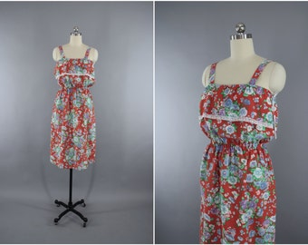 Vintage 1980s Sundress / 80s Vintage Dress / Cotton Day Dress / Red Floral Print / Size Medium to Large