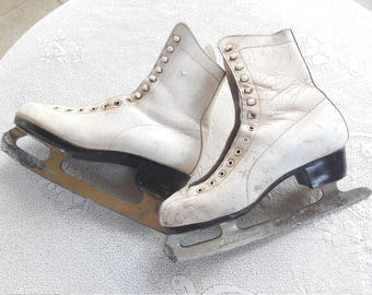 Free Ship. 80s Antique White Ice Skates for Home Decor - Made in West Germany - Please read the entire listing description