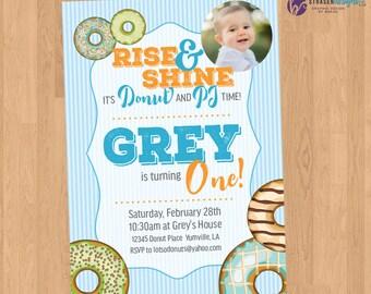 Donut & PJ Birthday Party Invitation