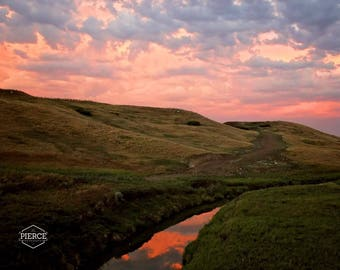 5x7 photograph of a stream at sunset.