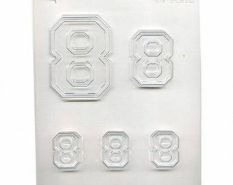 Collegiate Number #8 Chocolate Mold 90-14316 - FREE USA SHIPPING - Soap Concrete Plaster Crafts