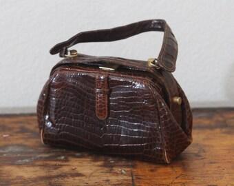 Gorel Faux Alligator Vintage Purse 1950's Handbag Top Handle Purse