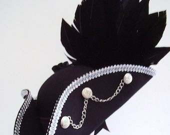 Steampunk black raven wing pirate costume hat black and silver