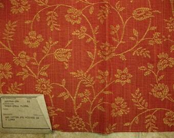 Stirated Coral Floral Vine Embroidered Damask Highland Court Designer Fabric Sample