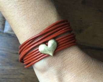 Leather wrap bracelet with slider heart charm