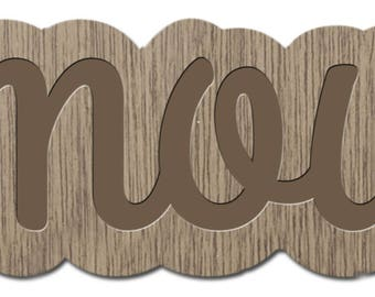 LOVE - the words young - laser cut wood - brooch