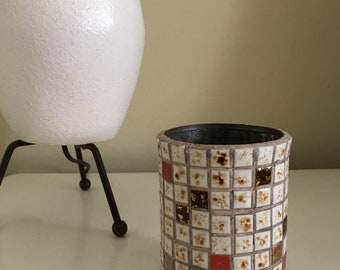 Mid Century Tile Mosaic Pen and Pencil Holder