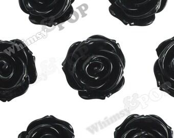 23mm - Large Black Rose Cabochons, Flower Cabochon, Rose Shaped, 23mm (R5-014)