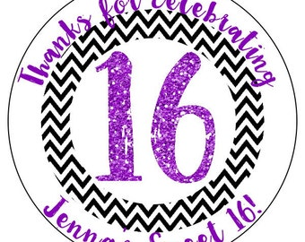 sweet 16 birthday stickers, purple sweet 16 party supplies, black 16th birthday stickers, personalized birthday stickers, 3 sizes available