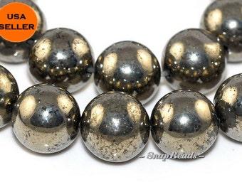10mm Palazzo Iron Pyrite Gemstones Round 10mm Loose Beads 16 inch Full Strand (90107042-107)
