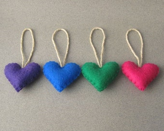 Small Heart Christmas Ornaments Recycled Felt set of 4 Jewel tones