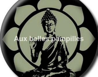 Round cabochon resin 25 mm - Buddha stick (1290) - zen, lotus