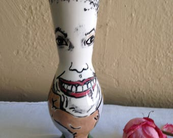 Women Art Face Vase Hand Painted Ceramic Pottery original  Modern Art by Lois Simbach
