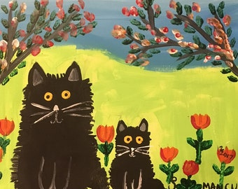 Maud Lewis Style Cats-Outdoor Primitive Painting